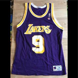 NWOT Vintage Champion Large Lakers Van Exel Jersey